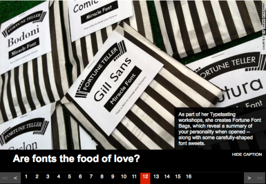 Type Tasting Font Fortune packs, complete with sweets, as featured by CNN