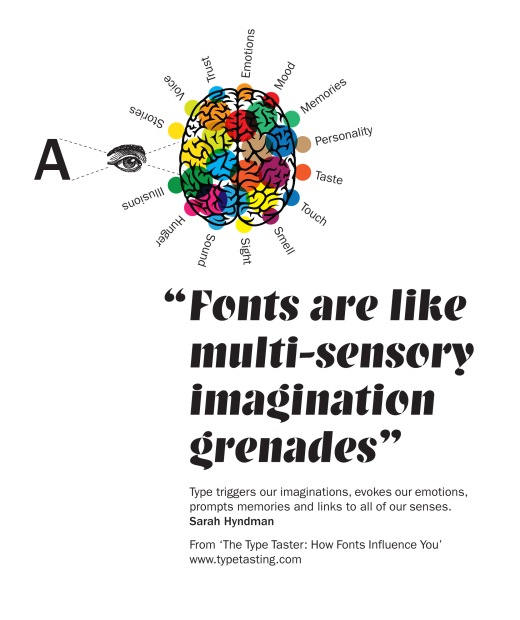 """Fonts are like multi-sensory imagination grenades"" by Sarah Hyndman"