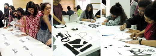 Sarah Hyndman teaching typography at the Ecole Intuit Lab Mumbai